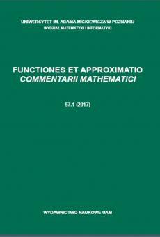 Functiones et Approximatio. Commentarii Mathematici 57.1 (2017)