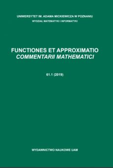 Functiones et Approximatio. Commentarii Mathematici 61.1 (2019)