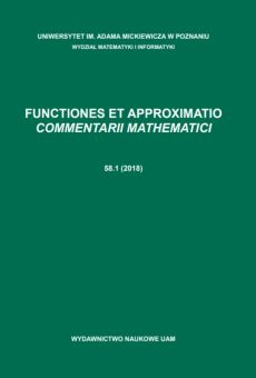 Functiones et Approximatio. Commentarii Mathematici 58.1 (2018)
