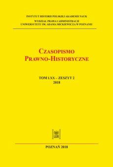 Czasopismo Prawno-Historyczne; tom LXX, zeszyt 2