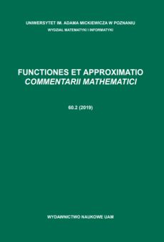 Functiones et Approximatio. Commentarii Mathematici 60.2 (2019)