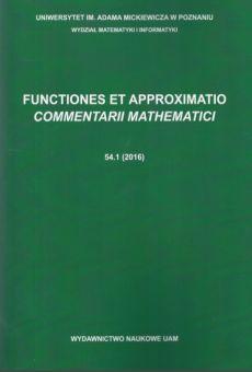 Functiones et Approximatio. Commentarii Mathematici 54.1 (2016)