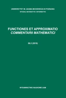 Functiones et Approximatio. Commentarii Mathematici 58.2 (2018)