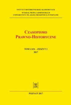 Czasopismo Prawno-Historyczne tom LXIX, zeszyt 2