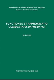 Functiones et Approximatio. Commentarii Mathematici 59.1 (2018)