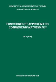 Functiones et Approximatio. Commentarii Mathematici 55.2 (2016)