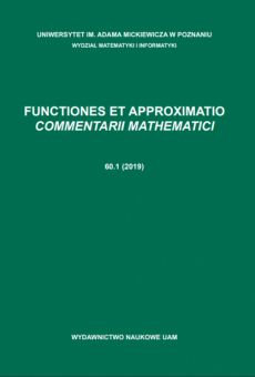 Functiones et Approximatio. Commentarii Mathematici 60.1 (2019)