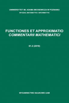 Functiones et Approximatio. Commentarii Mathematici 61.2 (2019)