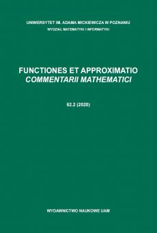 Functiones et Approximatio. Commentarii Mathematici 62.2 (2020)