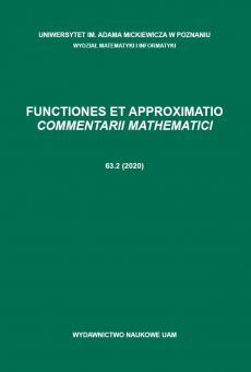 Functiones et Approximatio. Commentarii Mathematici 63.2 (2020)