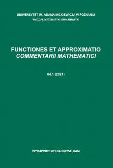 Functiones et Approximatio. Commentarii Mathematici 64.1 (2021)