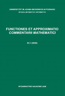 Functiones et Approximatio. Commentarii Mathematici 63.1 (2020)